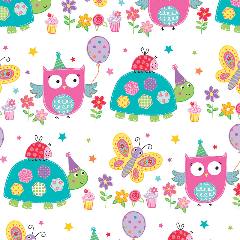 Owl Ladybird Butterfly Wrapping Paper Present Wrap For Girl 1st 2nd 3rd 4th 5th